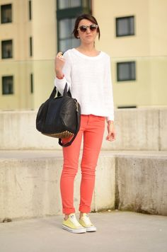 yellow converse + coral