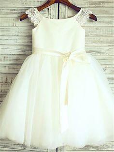 A-line/Princess Sleeveless Scoop Sash/Ribbon/Belt Floor-Length Organza Flower Girl Dresses