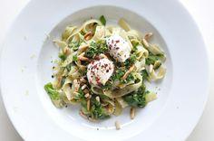 swiss chard pasta with goat's cream cheese.