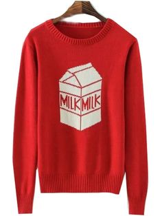 Red Milk Carton Print Fitted Round Neck Sweater