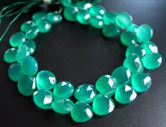 Emerald Green Onyx Faceted 9 to 10mm Briolette Beads