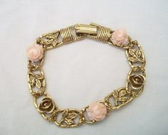 Your place to buy and sell all things handmade Rose Jewelry, I Love Jewelry, Unique Jewelry, Vintage Gifts, Etsy Vintage, Vintage Items, Romantic Roses, Cute Pink, Pink And Gold