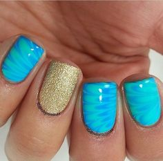 Gold and Turquoise nails