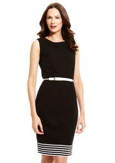 ANNE KLEIN DRESS Sleeveless Belted Sheath Dress