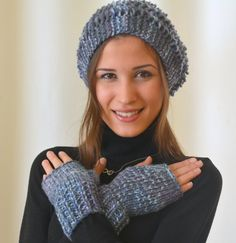 Hand knit hat slouchy hand knit cobalt blue women hat by bstyle, $37.00