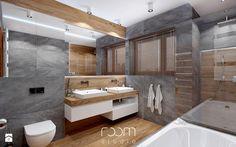 Łazienka szara z drewnem - Łazienka, styl nowoczesny - zdjęcie od ROOM STUDIO