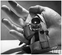 Photo Andreas Feininger Micro camera resting in palm of hand 1949
