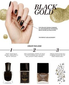 How to: Black + Gold mani
