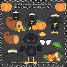 Thanksgiving Pilgrim Crows Set 1 - Paper Cuttables. Make your own cards this year and give your project a 3D look with cuttables. Paper Piecing made easy!