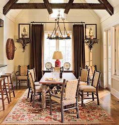 Cottage Dining Large timbers and rustic yet elegant furniture bring nature inside. Burnt reds and oranges evoke traditional mountain style.