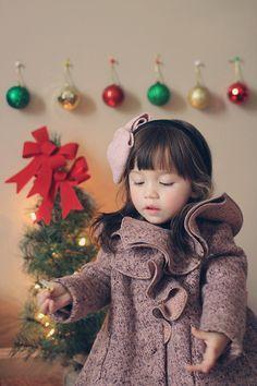 cappottino bimba con sfondo natalizio