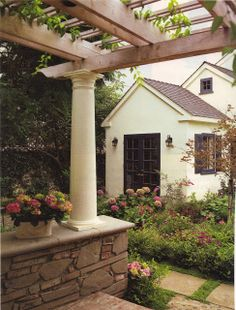 On the back bedroom side of Chad's house is a perfect spot for a quiet charming patio, with a cottage garden.  patio inspiration