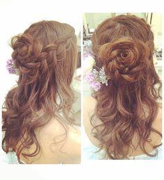 お色直しは後ろにお花 #ブライダル #ヘアメイク #結婚式#ブライダルヘア #あみこみ #ゆるふわ #ダウンスタイルアレンジ #フラワーアレンジ