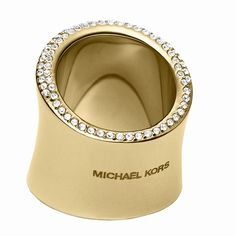 MICHAEL KORS Golden Pave Ring NWT!! Brand new with tags! MICHAEL KORS Gold tone Pave Crystal Stainless Steel Statement Ring! Size 6- Comes with pouch and care card. Style #MKJ4036710  MSRP $115 Michael Kors Jewelry Rings