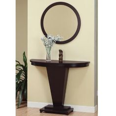 This Dark Espresso Lennie Console Table by Furniture of America is perfect! Entryway Console Table, Modern Console Tables, Sofa End Tables, Foyer, Interior Design Living Room, Interior Decorating, Round Mirrors, Room Decor, Decoration
