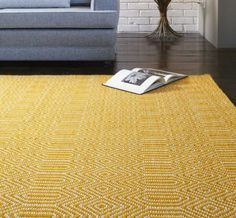 Trendy Sloan rugs in mustard yellow and off white. Our Sloan rug collection is inspired by the demand for geometric designs. This narrow two toned pattern incorporates a fashionable colour woven on an off white background. Sloan is flat-woven in India by Mustard Rug, Mustard Bedding, Mustard Yellow, Natural Flooring, Cheap Carpet, Rugs Online, Mellow Yellow, Geometric Designs, Yurts