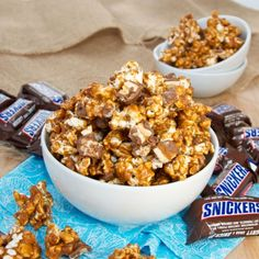 Snickers Caramel Popcorn  -  holy amazingness!  I've made this about 5 times in as many months.  My husband requests it all the time!!!  More like caramel-crack-corn :)