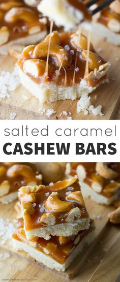 Salted Caramel Cashew Bars: homemade salted caramel is tossed with cashews and poured over a buttery shortbread base