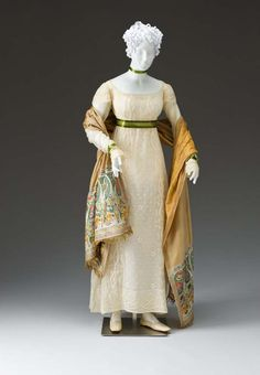 Dress ca. 1810-1815 United States Cotton, cotton thread, appliqued, embroidered Mint Museum
