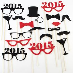 "These cute New Year's Eve 2015 themed photo booth props will make your holiday party the talk of the town. This set of 19 holiday props is festive and cute with stylized 2015 glasses, martinis, top hats, monocles and more New Year's style props, and also includes traditional mustache on a stick props, lips, bow ties, etc. Perfect for parties, family photos, or however you make fun holiday memories. Material: Paper, wood Size: 4""-7"" Holiday Themes, Holiday Parties, Holiday Fun, Festive, Gold Party, I Party, Wedding Photo Booth, Photo Booth Props, New Years Eve Party"