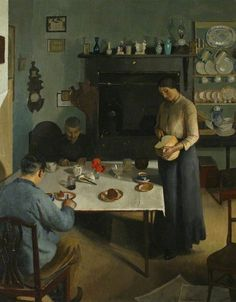 Harold C. Harvey The Tea Table 1920 oil on canvas, 75 x cm Royal Cornwall Museum © Art UK Tee Kunst, Illustration Art, Illustrations, Tea Art, Art Uk, Your Paintings, Eclectic Paintings, Les Oeuvres, Painting & Drawing