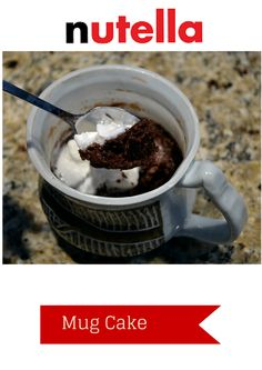 Easy #Nutella Mug Cake Recipe only 4 ingredients! One Minute in the microwave! #YumYum