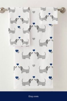 DACHSHUND TOWEL SET Puppy Kids Bathroom Navy Blue Decor - Guest Bathroom Decor - Hand Towel - Wash Cloth - Large Bath or Beach Towel #affiliate #ad #dachshund #doxie #wienerdog #towels #beachtowel #navyblue #gray #washcloth #handtowels #bathroomdecor #bathtowel #weeniedog #powderroom Navy Blue Decor, Large Baths, Weenie Dogs, Dachshund Love, Gifts For Pet Lovers, Christmas Wood, Towel Set, Washing Clothes, Hand Towels