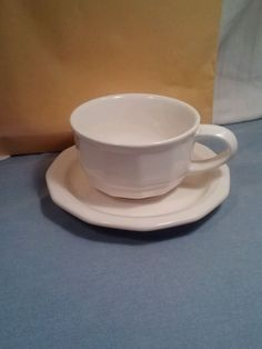 Pfaltzgraff Heritage Glossy White Cup and Saucer Excellent Condition #Pfaltzgraff