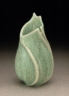 """Sandra Byers, """"Green Opening"""": wheel-thrown porcelain, carved and cut, lightly glazed. by saky23"""