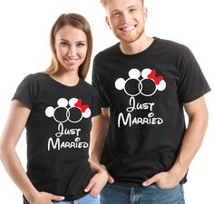 Just married Mr. black T-Shirts set. His and her set. Newly weds, Husband and wife mouse ears by SoulGoldTees on Etsy Mouse Ears, Baby Grows, Just Married, Custom Items, Newlyweds, Husband, T Shirts For Women, Free Uk, Lady