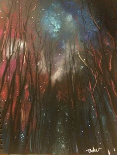 Galaxy forest pastel drawing