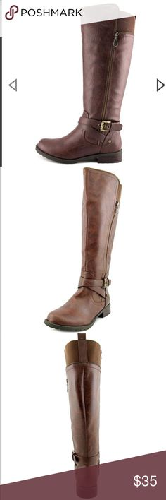 G by Guess Women's knee high riding boots Brand New. Never worn. Brown. Size 9. Zipper on the side. Knee high G by Guess Shoes Heeled Boots