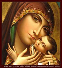 """Maica Domnului """"Dulcea sărutare"""" (Panagia Glykophilousa). Icoana care se află în chilia părintelui Cleopa, Mănăstirea Sihăstria."""