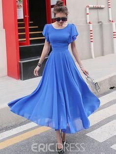 Ericdress Ruffle Sleeve Expansion Hem Soft Chiffon Maxi Dress