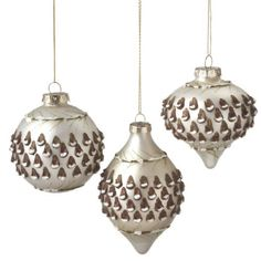"""Pack of 6 Matte Silver Glass Christmas Ornaments with Pine Cone Design 3.5"""" by CC Christmas Decor, http://www.amazon.com/dp/B007XVM9LM/ref=cm_sw_r_pi_dp_lC9dqb0WKS6S0"""