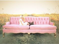 Pink and gold vintage sofa, country girl, family pictures