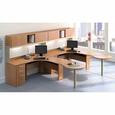 Two Person Office Workstation Group // Eco Friendly And Commercial Grade  Furniture