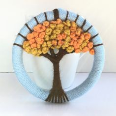 Giant Dorset Button craft weaving on hoop made form wool. All items are designed and handmade by me. Weaving For Kids, Weaving Art, Loom Weaving, Tapestry Weaving, Weaving Projects, Knitting Projects, Felt Projects, Button Art, Button Crafts