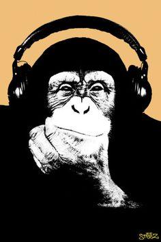 Steez-Headphone Monkey Affiche