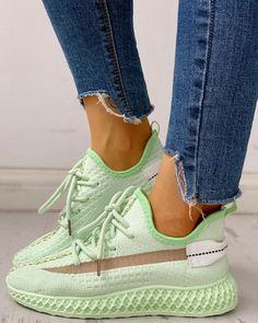 Net Surface Breathable Lace-Up Sneakers Shop- Women's Best Online Shopping - Offering Huge Discounts on Dresses, Lingerie , Jumpsuits , Swimwear, Tops and More. Casual Heels, Casual Sneakers, Sneakers Fashion, Fashion Shoes, Style Fashion, Fashion Outfits, Baskets, Sneaker Heels, Loafer Sneakers