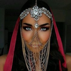 Tribal Face Chain Veil Arabian Burning Man Headdress Rave Wedding Mask Gypsy Festival Belly Dancer Gold Crystal Head Piece Jewelry Bedouin in 2019 Face Jewellery, Headpiece Jewelry, Body Jewelry, Chain Jewelry, Gold Jewellery, Crystal Jewelry, Arabic Jewelry, Anklet Jewellery, Bohemian Headpiece
