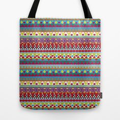 NATIVE MIND DREAM Tote Bag by Nika  - $22.00  #boho #bohemian #totebag #tribal #native #pattern #abstract #triangles #society6 #totebag #tote #bag #nika #colorful #modern #hippie #indie #chic