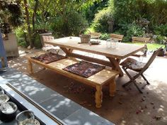 Reclaimed Oregon Pine Table and Bench Pine Table, Cape Town South Africa, Solid Wood Table, Wooden Furniture, Oregon, Tables, Bench, Home Decor, Decks