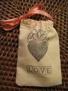 Rustic Wedding Favor bag with Heart and Love by PrinceSnowFarm, $1.25 Keywords: #weddings #jevelweddingplanning Follow Us: www.jevelweddingplanning.com  www.facebook.com/jevelweddingplanning/