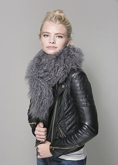 Black Leather and HCT Mongolian Boa in Downy a great mix. available here: http://heathercampbelltextiles.com/collections/furs