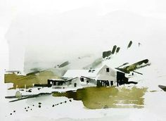 Watercolor painting Iceland a. Watercolor Artists, Watercolor Sketch, Watercolor Portraits, Watercolor Landscape, Abstract Watercolor, Watercolor Illustration, Abstract Landscape, Watercolour Painting, Painting & Drawing