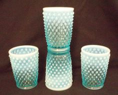 4 Fenton Blue Opalescent Hobnail 5 ounce tumblers 80.00 Free Shipping