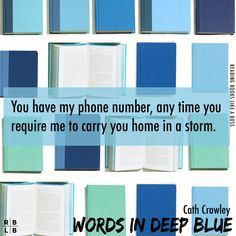 WORDS IN DEEP BLUE hooked me from the beginning and I couldn't wait to get home from work to read more of Rachel and Henry's time inside Howling Books. Blue Quotes, B Words, Crowley, Book Recommendations, Deep Blue, Teaser, Book Worms, Favorite Quotes, My Books