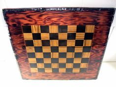 Vintage Game Board Inlaid Wood Checker Board Table Top – EclectiquesBoutique.com