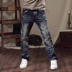 298dc1c5 K-Style Plaid Panel Washed Jeans PRICE $80.00 #pant #fashion #men